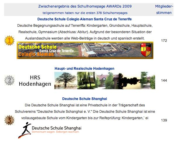 Schulhomepage Award 2009